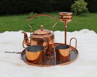 Copper tray Copper coffee tea set Copper kitchen decor Antique solid copper Copperware Estonia 70s Copper dish  Copper home