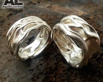 925 solid sterling silver ring crushed - smashed accordion - handmade - jewelry - artisan