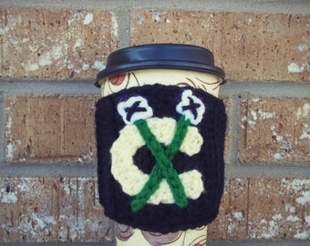 Chicago Blackhawks Coffee Sleeve! Crochet Blackhawks cover for a coffee cup or water bottle!