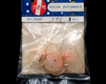 Nylon Butterfly - FCM No 7988  - 2 Pieces - Jewelry Supplies - Crafts Supplies - Art Supplies - Pink, Gold and White