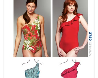 Sewing Pattern for Misses' One-Shoulder Swimsuits, Kwik Sew Pattern 3780, Swimwear, Swim Suits, Womens Bathing Suits