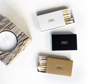 Custom Monogram Matchboxes. Foil Emboss Name, Initials, Date Matches. Personalized Matchbooks. Customized Bridesmaid Groomsman Wedding Gift.