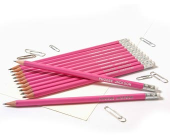 High Quality Personalised Pencils -Printed with Name - Pink  (or see other colours listed)