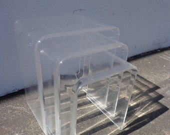 Lucite Nesting Tables Mid Century Modern Accent Side End Nightstands Waterfall Set of 3 Bedside Table Vintage Nightstand Clear Acrylic