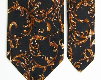 Vintage Brooks Brothers Silk Tie - Baroque Filigree Pattern Necktie - Black Ground w/ Golden Brown Tones