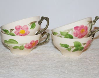 Vintage Franciscan Desert Rose England 4 Coffee Cups Pink Rose Made in England