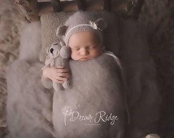 Newborn Angora Bear Bonnet and teddy  bear toy set  Photography prop  Crochet  knited newborn hat