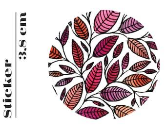 Round Sticker Floral Leaf Illustration 3,8 cm (P01 014)
