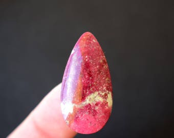 33 x 17 x 4 mm Thulite  natural stone cabochon.