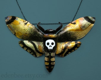 Death's head moth pendant statement necklace, hand painted leather with oxidized imitation gold leaf