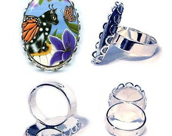 Monarch Butterfly Fairy Cat Ring Fantasy Cat Art Silver Cat Ring Cameo Ring 25x18mm Gift for Cat Lovers Jewelry