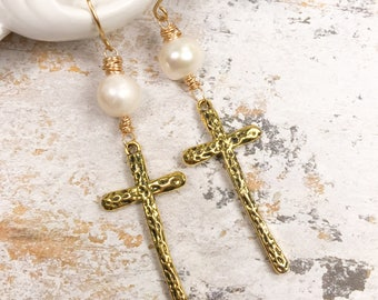 Cross earrings, fresh water pearl earrings, religious earrings , long earrings