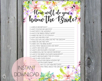 Bridal Quiz / Questionaire / Bridal Shower & Kitchen Tea Games / Pink Floral