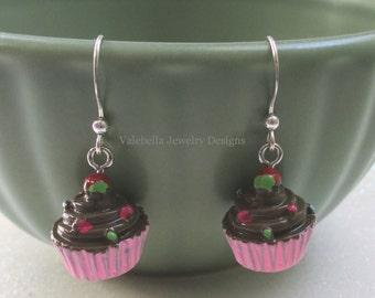 Earrings 3D Pink Cupcake earrings sterling silver Birthday jewelry cupcake dangle earrings girls kids tween teen jewelry birthday baker gift