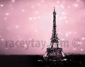 Paris Photography Pink  Eiffel Tower With Hearts- Baby Girl Nursery Decor- Bedroom Wall Art