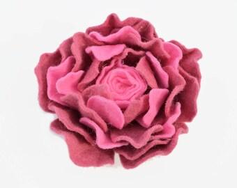 Pink felt flower brooch, headband, hair clip, felt pink rose brooch, wool flower.