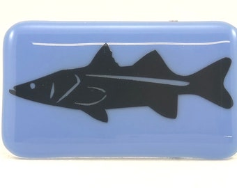 Snook fused glass belt buckle