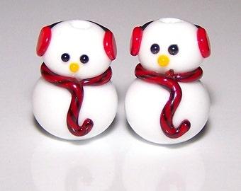 Handmade Lampwork Glass Bead Earmuff  Snowmen Friends by Cara