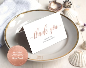 INSTANT DOWNLOAD PDF 3.5x5 tented style card Thank You card Wedding Calligraphy Thank You Note Cards Printable Digital Rose Gold #DP140_26