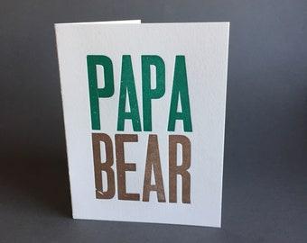 Papa Bear letterpress greeting card