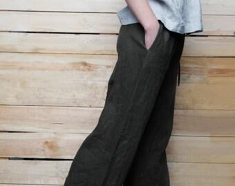 Linen  Pants For Women/ Wide Linen Pants/ Flax Pants Drawstringed/ Linen Women's Trouser/ Casual Wear Trouser Womens