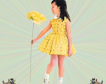 Girls Sleeveless Party Dress and Short Sleeve Jacket Pattern with Tie Belt & Over Collar, Size 2 or 4, Advance Sewing Pattern 3149, UNCUT