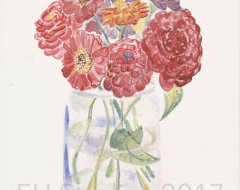 Zinnia Watercolor Print, flower bouquet print, summer blooms