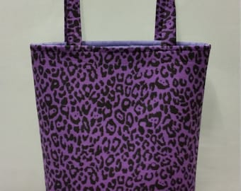 Shopper / Tote Bag. Ladies, Women, Girls. Purple Leopard Print Cotton Fabric. Internal pocket.