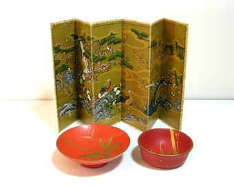 Oriental Miniature Decor Paper Screen Painted Wood Bowls