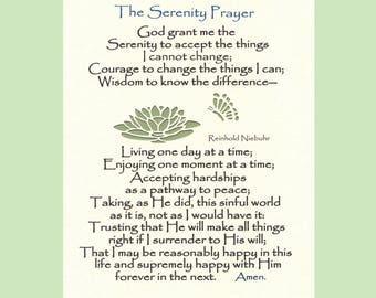 Serenity Prayer Long Version God grant me Wall Art Christian Prayer Recovery Prayer Lily Butterflies Paper 8X10