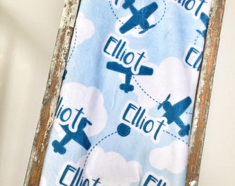 Personalized Baby Blanket, Baby blanket, baby blankets personalized, name blanket, Custom Blanket with airplanes