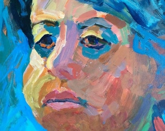 """ON SALE Art and collectibles, expressionistic, 12x9"""" original portrait, colorful expressionism, fine art, collectible, wall candy impression"""