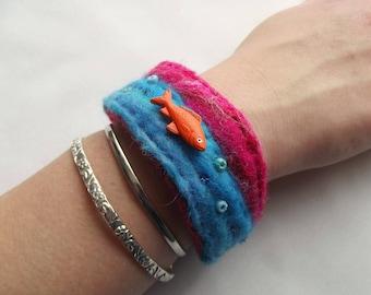 Fish Bracelet: Cuff Bracelet, Wristband, Handmade, Unique, Fish Jewellery, Fish Jewelry, SALE