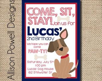 Puppy-Dog-Puppy Dog Birthday Party Invitation - Custom Red and Blue Birthday Party Invitation