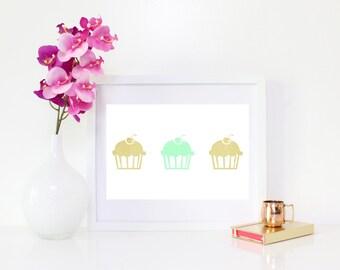 DESCARGAR DIGITAL, arte de Cupcake, Cupcakes, oro arte de Cupcake, Cupcake decoración de la pared, Linda Magdalena