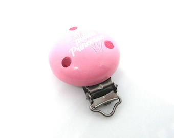 Wooden Princess clip - pink
