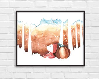 Hello Autumn / Autumn Art Print / Fall Print / Autumn Poster / Autumn Fall Illustration / DIY / Instant Download Print / Wall Art / [02]