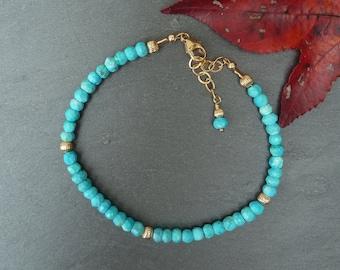 Gemstone Stacking Bracelet, Turquoise Beaded Bracelet, Gemstone Layering Bracelet, Layering Jewelry, Gold Filled Bracelet, Mothers Day Gift