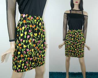 Neon flower print mini skirt, size 38, 1980's vintage women's clothing, high waisted mom pencil skirt