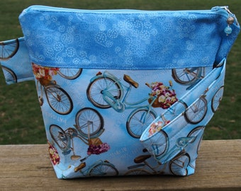 Paris Bicycle Zippered Pouch Knitting Project Bag
