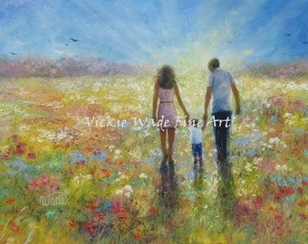 Wildflower Walk With Mom and Dad Art Print, family, son, mom, dad, meadow, painting, loving couple and boy wall art, Vickie Wade Art