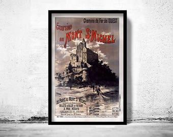 Vintage Poster of Mont St Michel France 1895