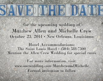 New Orleans Street Tile Save the Date Cards- Set of 50