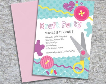 Craft or Sewing Party Invitation – Personalized DIY Printable (Digital File)