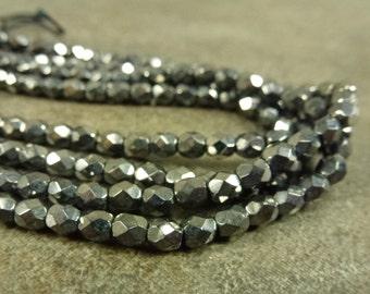 Hematite Czech Glass Firepolish Beads 4mm Faceted Glass 50pc Silver Metallic