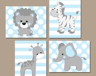 Baby BOY Nursery Wall Art, Blue Gray Nursery Decor, Elephant Giraffe Zebra Lion, Safari Animals Decor Bedroom, Canvas or Print Set of 4