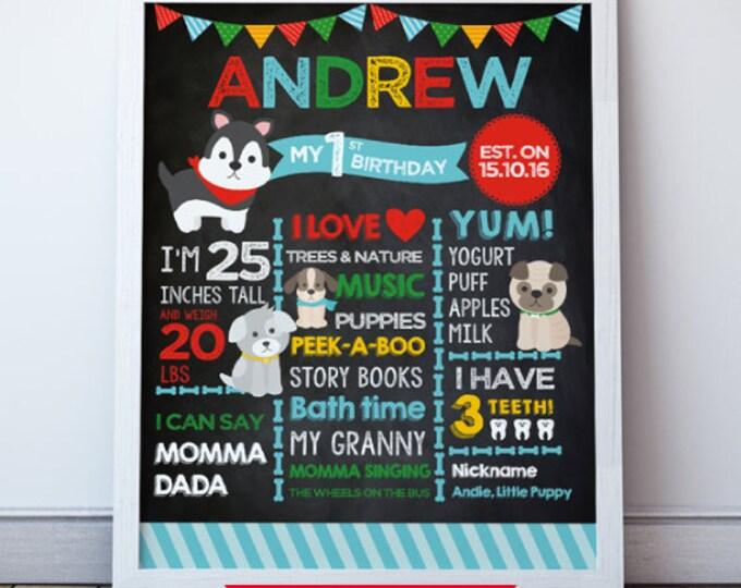 Puppy Birthday Party, First Birthday Poster, Puppy Adoption Birthday Party, Any age, DIGITAL