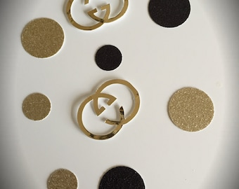 Buy 3 quantities (50 pcs) get the 4th FREE, Confetti ( circles and logos) for classy party.