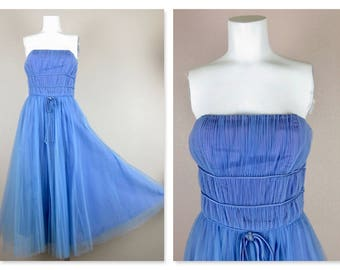 Vintage 1950s Cornflower Blue Wedding / Prom Dress, Satin / Tulle, Tea Length, Strapless with Bolero Jacket, Size Small