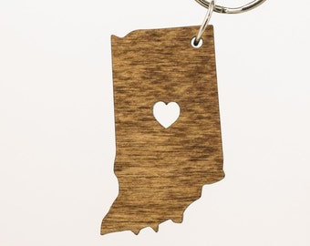 Indiana Wooden Keychain - IN State Keychain - Wooden Indiana Carved Key Ring - Wooden IN Charm - Hoosier State Keychain - State of IN